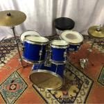 Drum キッズサイズ 小口径 レトロ ドラム ブルー ノーブランド ヴィンテージ フルセット スネア バスドラム ハイハット